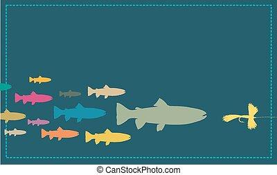 mosca, señuelo, perseguir, pez, pesca