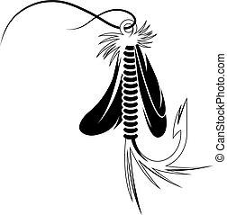 mosca, señuelo, vector, diseño, pesca, plantilla