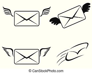 mosca, set, email, icone