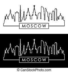 mosca, skyline., lineare, style.