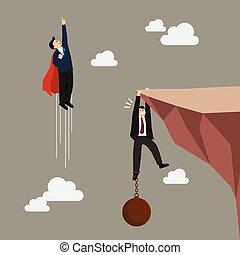 mosca, superhero, carga, pase, hombre de negocios, asimiento...