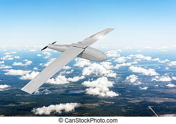 mosca, terreno, tracking., patrullar, cielo, avión, sobre, ...