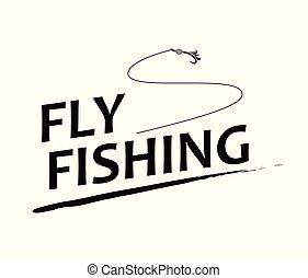 mosca, texto, pesca