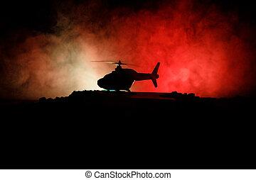 mosca, toned, silueta, cantidad, noche, zone., enfoque., selectivo, backlit., brumoso, listo, helicóptero, adornado, militar, de arranque, desierto, conflicto