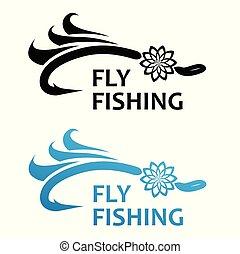 mosca, vector, pesca, ilustración