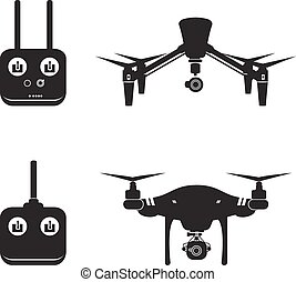 mosca, vetorial, aéreo, ilustração, zangão, câmera, vídeo, helicóptero, silueta