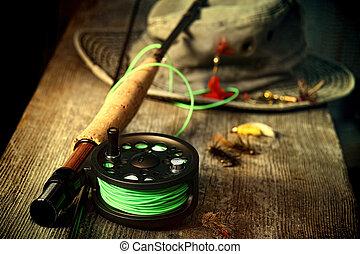 mosca, viejo, banco, equipo, sombrero pesquero