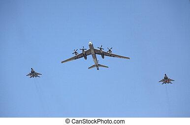 moscas, bombardero, luchadores, dos, estratégico