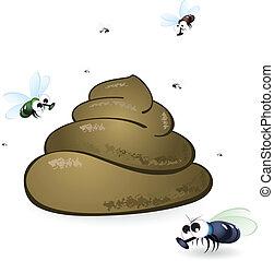 moscas, feces, caricatura