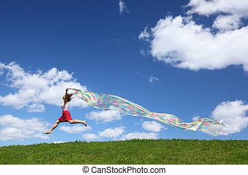 moscas, mulher, tecido, céu, baixo, develops, mãos, pedaço, vento