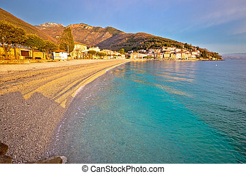 Moscenicka Draga turquoise beach at sunrise - Moscenicka ...