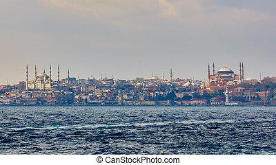 moschea blu, sophia hagia, e, topkapi, palace., popolare, locali, in, istanbul