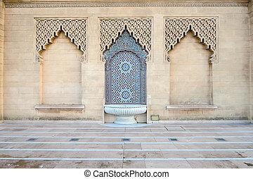 moschea, porta, fondo, foto, marocco