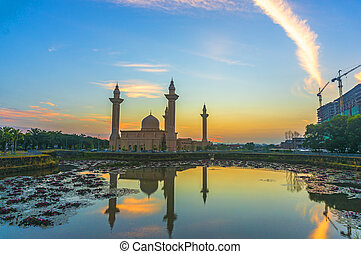 moschea, riflessione, alba, lago
