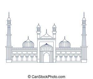 moschee, islamisch, indische , masjid, jama, tag, erbauung,...