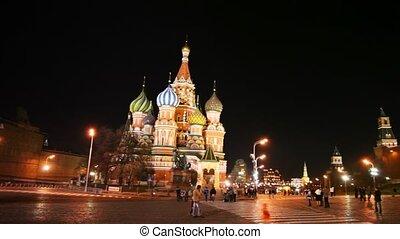 moscou, carrée, tour, basil's, dôme, heure, saint, cathédrale, rouges