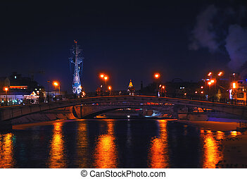 moscou, central, noturna