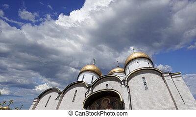 moscou, intérieur, clouds., kremlin, contre, dormition, en ...
