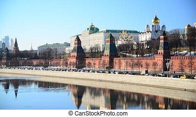 moscou, russie, kremlin, vue, rivière