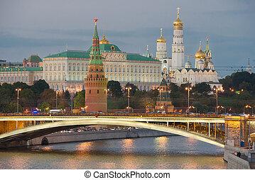 moscou, russie, nuit, kremlin, été, vue
