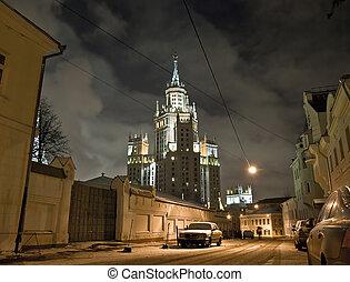 moscou, scène rue, nuit