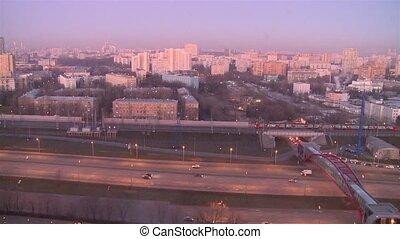 moscou, ville, panoramique, russia., izmailovo., vue...