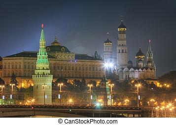 moscou, vue, kremlin, nuit