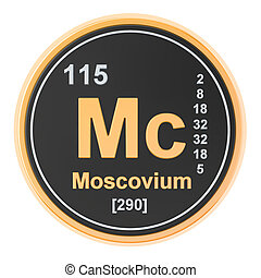 Moscovium Mc chemical element. 3D rendering isolated on...