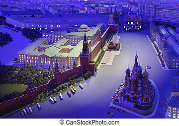 MOSCOW - APRIL 27: Model Moscow is capital of USSR - night Red Square, on April 27, 2011 in Moscow, Russia. Team led by Yefim Deshalyt built diorama commissioned by Foreign Ministry of USSR in 1977.