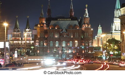 Moscow, Tverskaya street. view on the Historical museum and the Kremlin at night, time-lapse