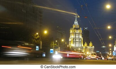 Cars go on New Arbat in front of hotel - MOSCOW - AUG 29:...