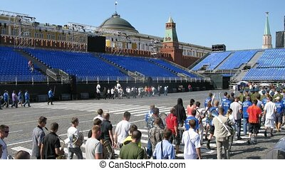MOSCOW - AUG 30: Rehearsals of participants of Festival SPASSKAYA BASHNYA on Red Square on Aug 30, 2011 in Moscow, Russia
