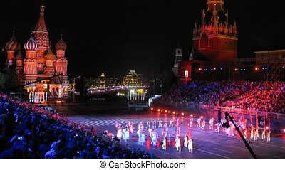 MOSCOW - AUG 31: Demonstration performance Cultural group Shi-Ho of Shaanxi of China on festival SPASSKAYA BASHNYA on Red Square on Aug 31, 2011 in Moscow, Russia