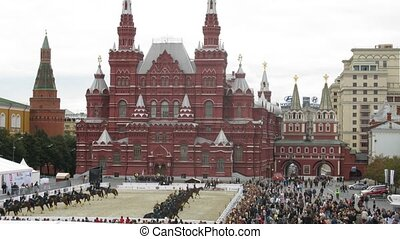 MOSCOW - AUG 31: Demonstration performances of Kremlin school of riding on festival SPASSKAYA BASHNYA on Red Square on Aug 31, 2011 in Moscow, Russia