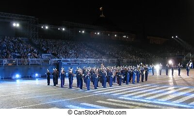 MOSCOW - AUG 31: Demonstration performances of Orchestra of Northwest military district of France on festival SPASSKAYA BASHNYA on Red Square on Aug 31, 2011 in Moscow, Russia