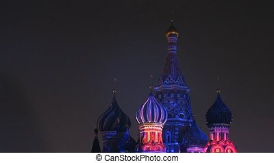 MOSCOW - AUG 31: Domes are shine by fireworks light on festival SPASSKAYA  BASHNYA on Red Square on Aug 31, 2011 in Moscow, Russia