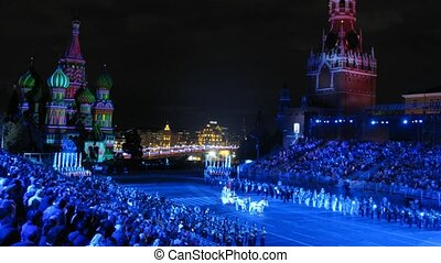 MOSCOW - AUG 31: Festival SPASSKAYA BASHNYA come to an end with grandiose fireworks on Red Square on Aug 31, 2011 in Moscow, Russia