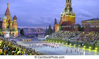 MOSCOW - AUG 31: Performance of military orchestras of Pakistan and Jordan on festival SPASSKAYA BASHNYA on Red Square on Aug 31, 2011 in Moscow, Russia
