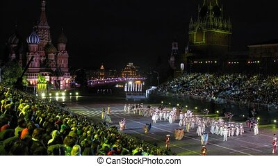 MOSCOW - AUG 31: Performances orchestral collective of Mexico on festival SPASSKAYA BASHNYA on Red Square on Aug 31, 2011 in Moscow, Russia