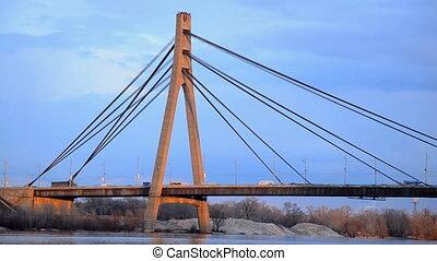 Moscow bridge across Dnieper Kiev Ukraine
