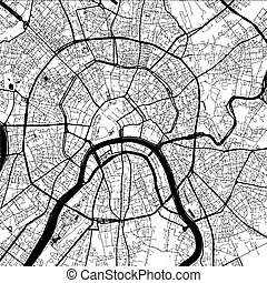 Moscow Capital Of Russia Monochrome Map Artprint
