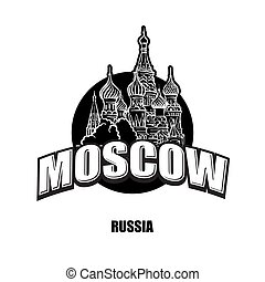 Moscow, cathedral, black and white logo for high quality...