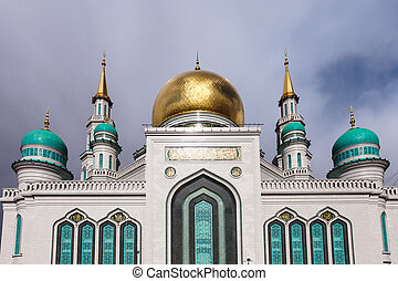 Moscow Cathedral Mosque under gray clouds