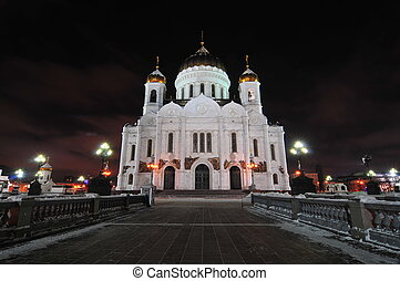 The Cathedral of Christ the Saviour is a Church in Moscow, Russia, on the northern bank of the Moskva River, a few blocks south-west of the Kremlin. With an overall height of 105 metres (344 ft), it is the tallest Orthodox church in the world.