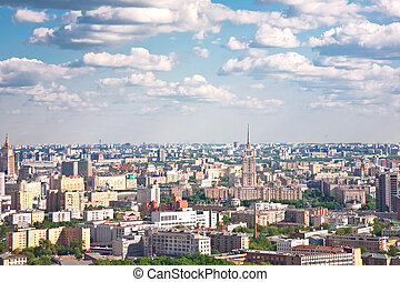 Moscow city - capital of Russian Federation. Aerial view.