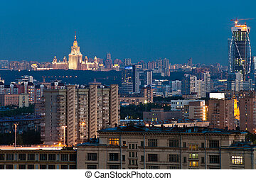 Moscow city at dusk