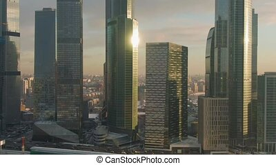 moscow city business center and urban skyline