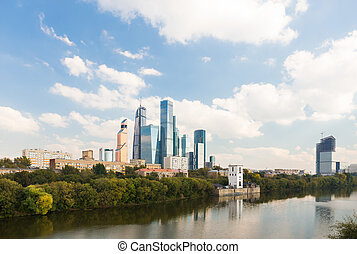 View of Moscow-City district from the river