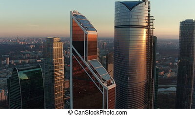 Moscow City Business Centre at sunset, aerial view - Aerial...