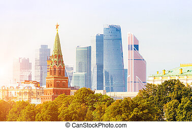 Moscow City business district with Kremlin tower